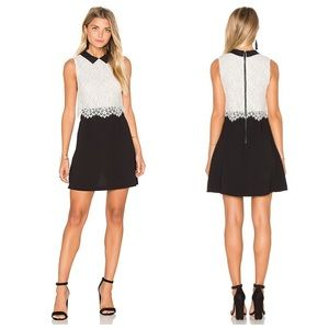 NWOT-Chic A+O Black White Lace Overlay Desra Dress